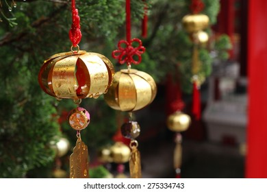 Golden Wishing Bell in Buddhist Temple, Taiwan
