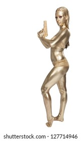 Golden woman with pistol