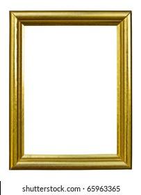 golden wood photo image frame isolated