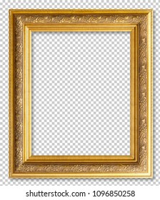 Golden wooden frame isolated on transparent background.