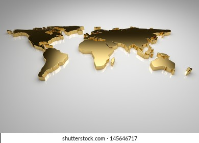 Golden world map on gray background, 3d render