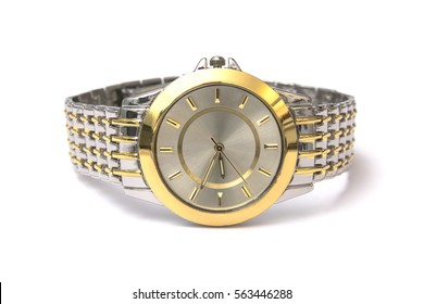 Golden wristwatch isolated on white background
