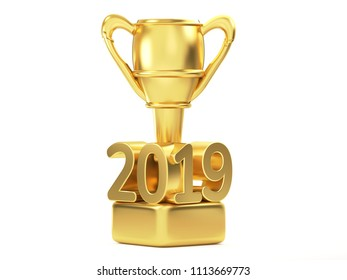 golden year 2019 trophy isolated 3d rendering
