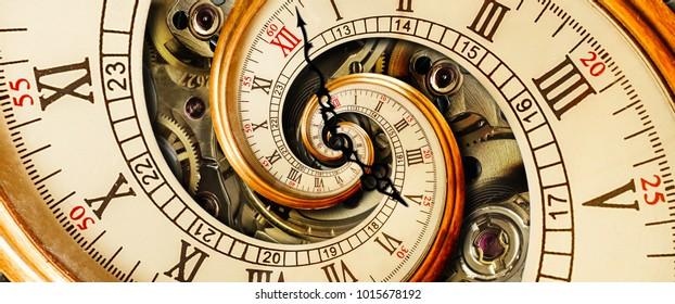 Gouden gele antieke oude klok spiraal abstract fractal. Retro surrealistische klok met mechanisme op de achtergrond. Tijdspiraal concept beeld poster Ongebruikelijk horloge met Romeinse Arabische cijfers en klok wijzers