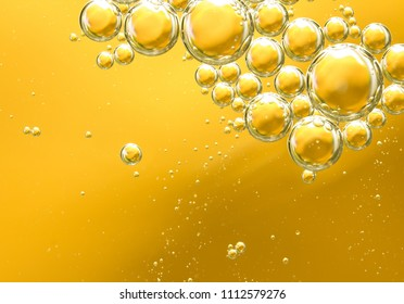 golden yellow bubble oil, abstract background