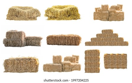 Golden yellow haystack isolated on a white background hay is a tightly joined bale of straw.