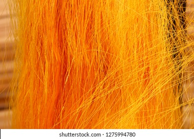 Golden yellow raw silk thread background and texture