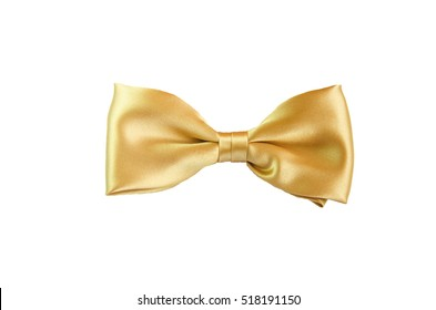 Golden yellow satin Bow Tie for Kids Children Men Man women on white background golden bowl