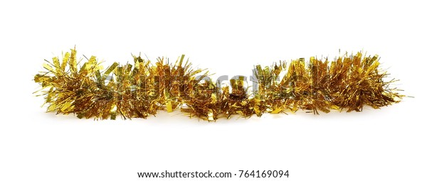 Golden, yellow tinsel, Christmas ornament, decoration, isolated on white background