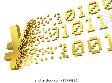 golden yen symbol converting into the shapes of binary code representing electronic money.