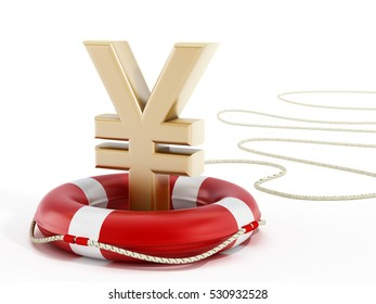 Golden yen symbol on lifebelt. 3D illustration.