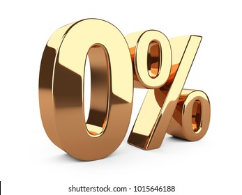 Golden zero percent or 0 % special Offer. Isolated over white background 3d illustration.