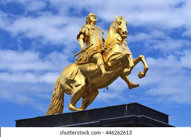 """""""Goldener Reiter"""", the statue of August the Strong in Dresden, Germany."""
