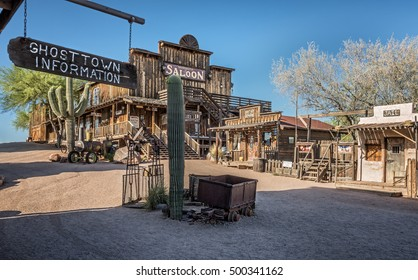 GOLDFIELD, ARIZONA, USA - MAY 17, 2016 : Old saloon, gallery and jail in Goldfield Ghost town. Goldfield, later Youngsberg was a gold mining town, now a ghost town in Pinal County, Arizona.