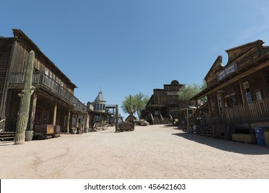 Goldfield Ghost Town, AZ, USA - July 16, 2016: wild west town road in Goldfield Ghost Town.