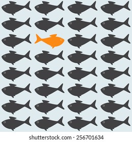 Goldfish among grey crowd moving against stream. Concept illustration of uniqueness