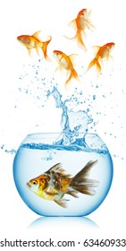 A goldfish jumping out of the fishbowl isolated