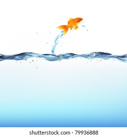 Goldfish Leaping Out Of Water, Isolated On White Background