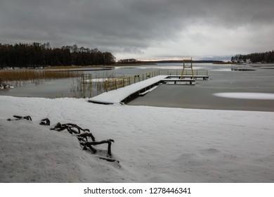 Goldopiwo lake at winter near Kruklanki, Masuria, Poland