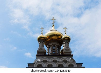 Gold-plated domes, five-domed temple in Alupka. Church of the Archangel Michael