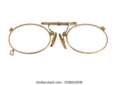 gold-plated pince-nez with spring antique