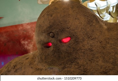 Golem close up, Prague, Czech Republic. In Jewish folklore, a golem is an animated anthropomorphic being that is magically created entirely from clay or mud. Has scary red eyes. Legend figure.