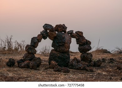Golem collected from stones at sunset in Goa.