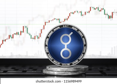 Golem (GNT) cryptocurrency; golem coin on the background of the chart