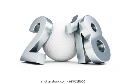 Golf 2018 new year on a white background 3D illustration, 3D rendering
