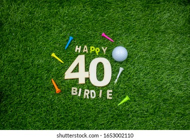 Golf 40th Birthday with golf ball on green grass and number forty