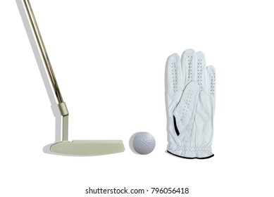 Golf accessories, glove,ball and putter isolated on white background.