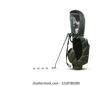 Golf Bag , 4 golf ball and putter isolated on white background with copy space.