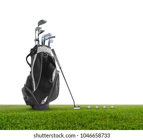 Golf bag ,golf ball and face balanced putter with Super Stroke putter grip isolated on white background.