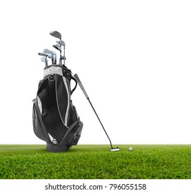 Golf bag ,golf ball and face balanced putter with Super Stroke putter grip on green isolated on white background.