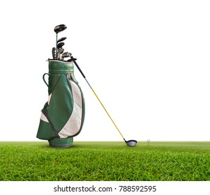 Golf bag, ball, putter and driver  (wood no 1) on green isolated on white background.