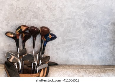 Golf bag or Golf club set on wall and sofa