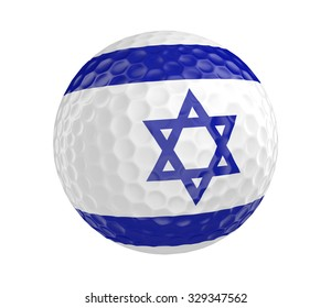 Golf ball 3D render with flag of Israel, isolated on white