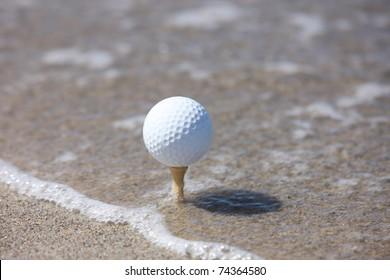 golf ball in the beach