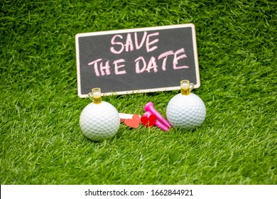 Golf ball with beer for party invitation with pin and save the date on green grass