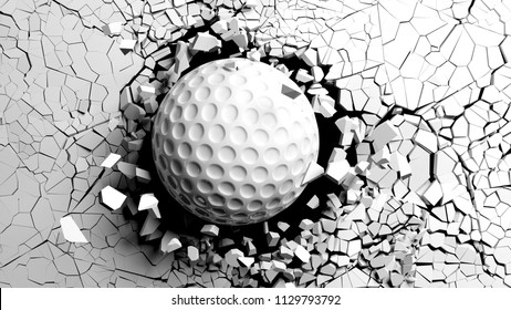 Golf ball breaking with great force through a white wall. 3d illustration.