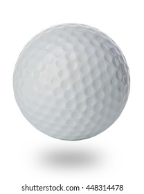 Golf ball close-up isolated on a white background.