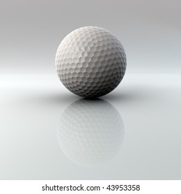 Golf ball closeup on bright surface with reflection. Very high quality 3D render with Alpha channel. Ball is 2000 pixels in diameter when isolated from full size image..