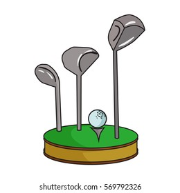 Golf ball and clubs on grass icon in cartoon style isolated on white background. Golf club symbol stock bitmap, rastr illustration.