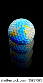 Golf ball earth rises after hit.