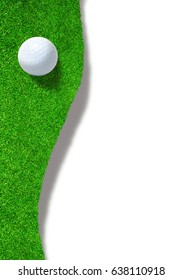 Golf ball at the edge of sand trap bunker on white background with copy space.