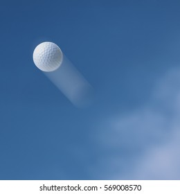 Golf ball flying into the sky.