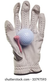 golf ball and glove isolated on a pure white background