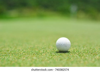 a Golf ball in the green field , Tee Golf