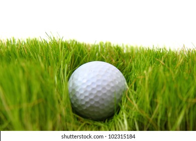 golf ball in the green grass background