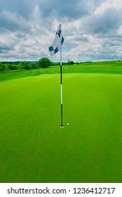 golf ball in the green grass close to the hole